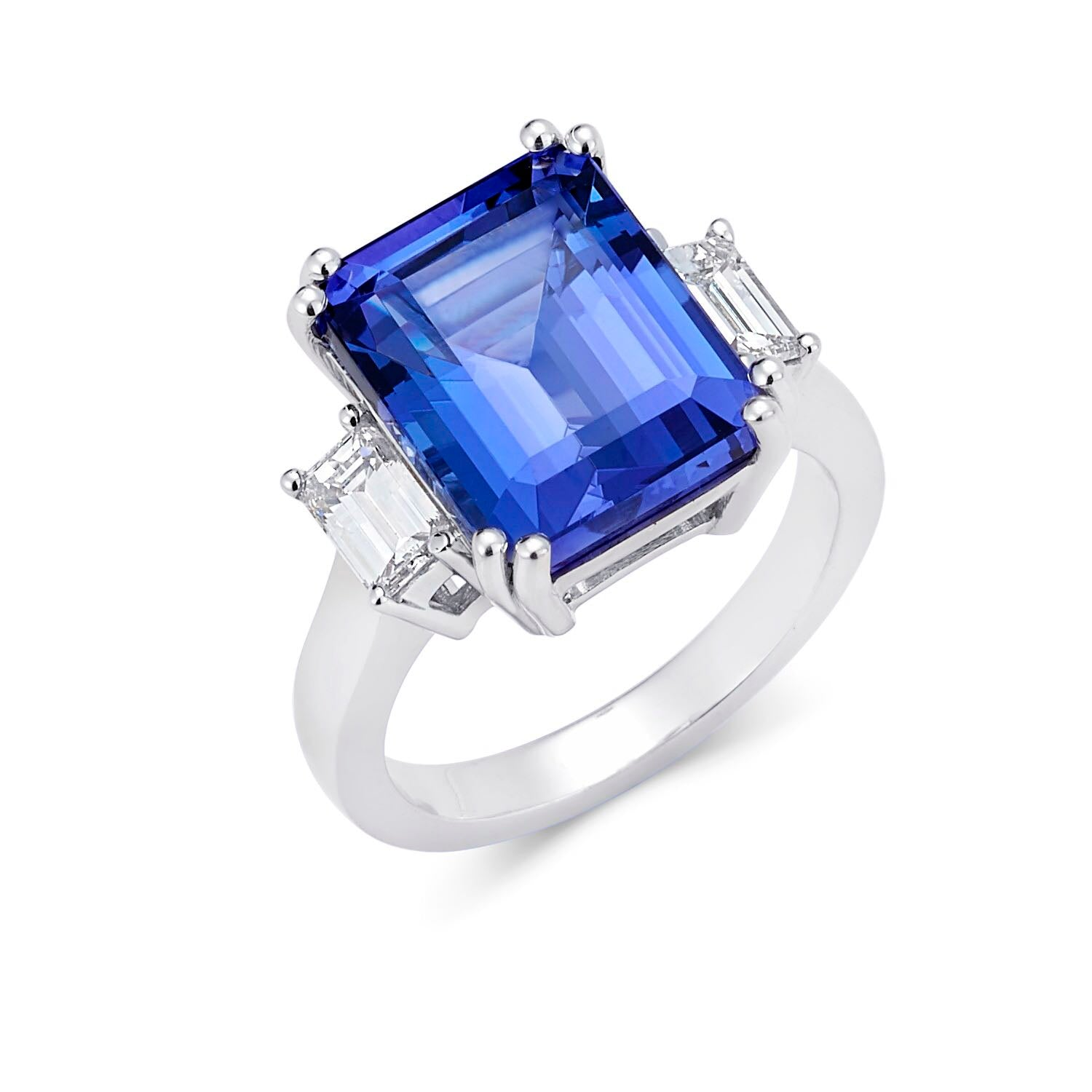 Traditional Three Stone Emerald Cut Tanzanite & Diamond Ring