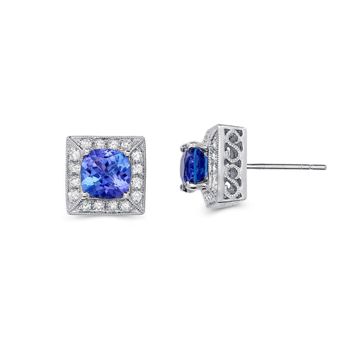 Halo Tanzanite Earrings