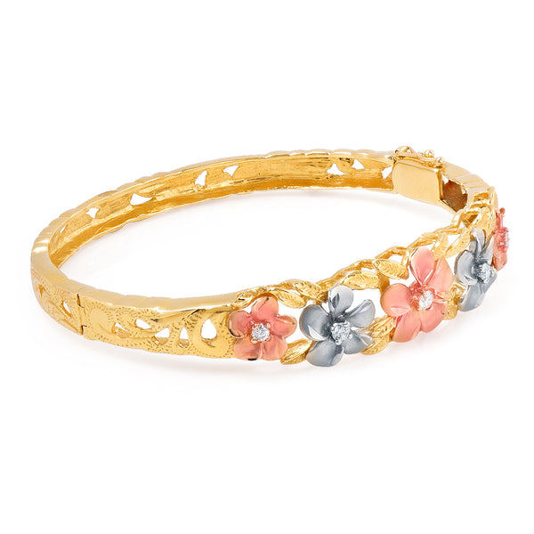 Diamond Plumeria Tri Gold Bangle