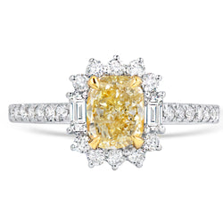 Fancy Yellow Diamond Ring with Baguettes