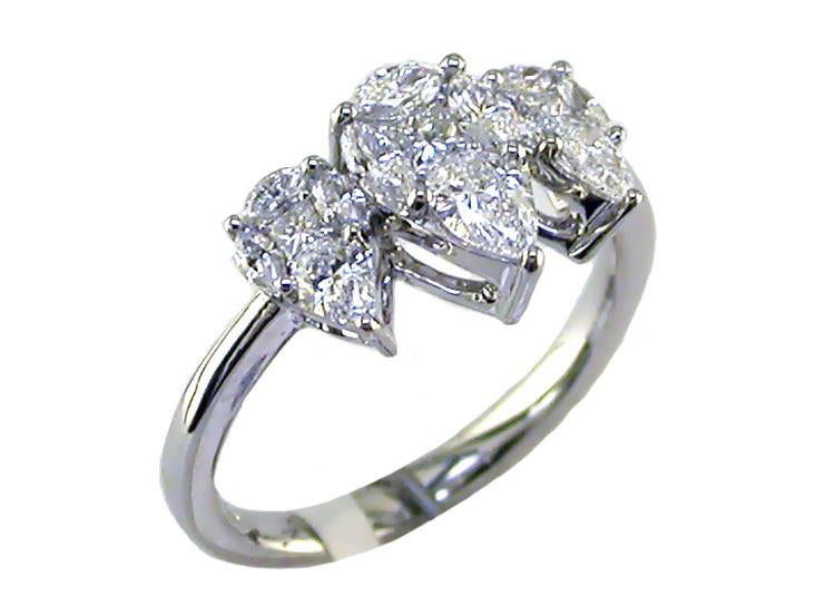 Tri Teardrop Diamond Ring