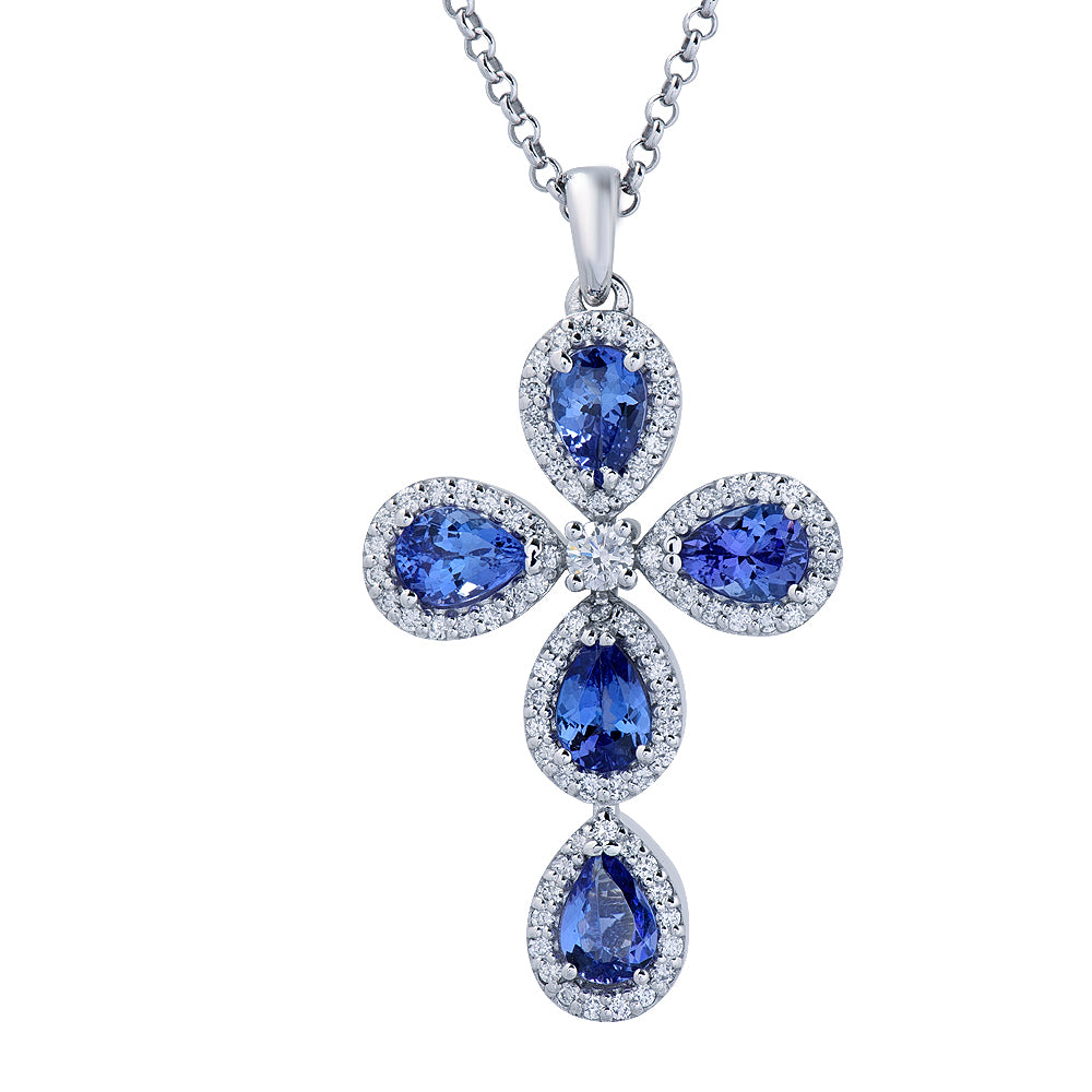 tanzanite total shaped pendant necklace necklaces a pear ct diamond in gold gem weight white