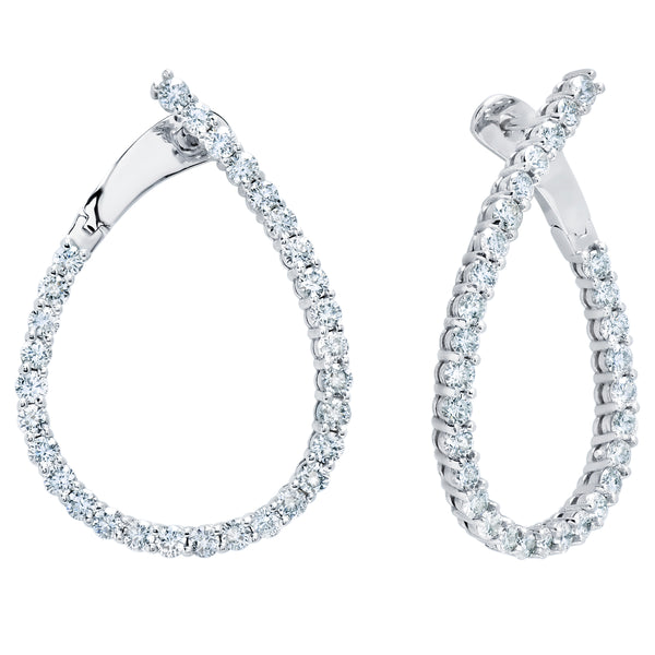 Diamond Teardrop Hoop Earrings