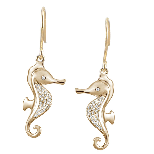 Seahorse Diamond Pavé Hook Earrings