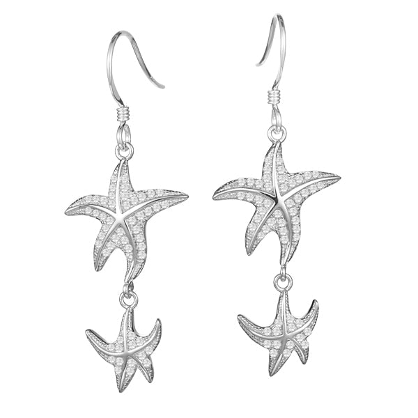 Starfish Diamond Pavé Hook Earrings