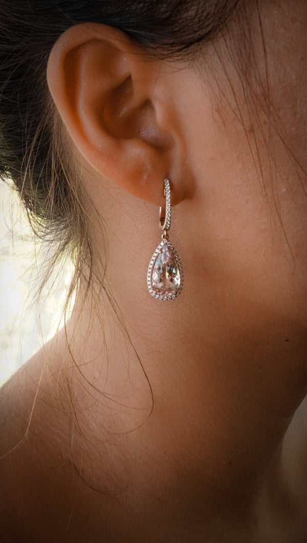 14k Rose Gold Earring Set With Morganite & Diamonds