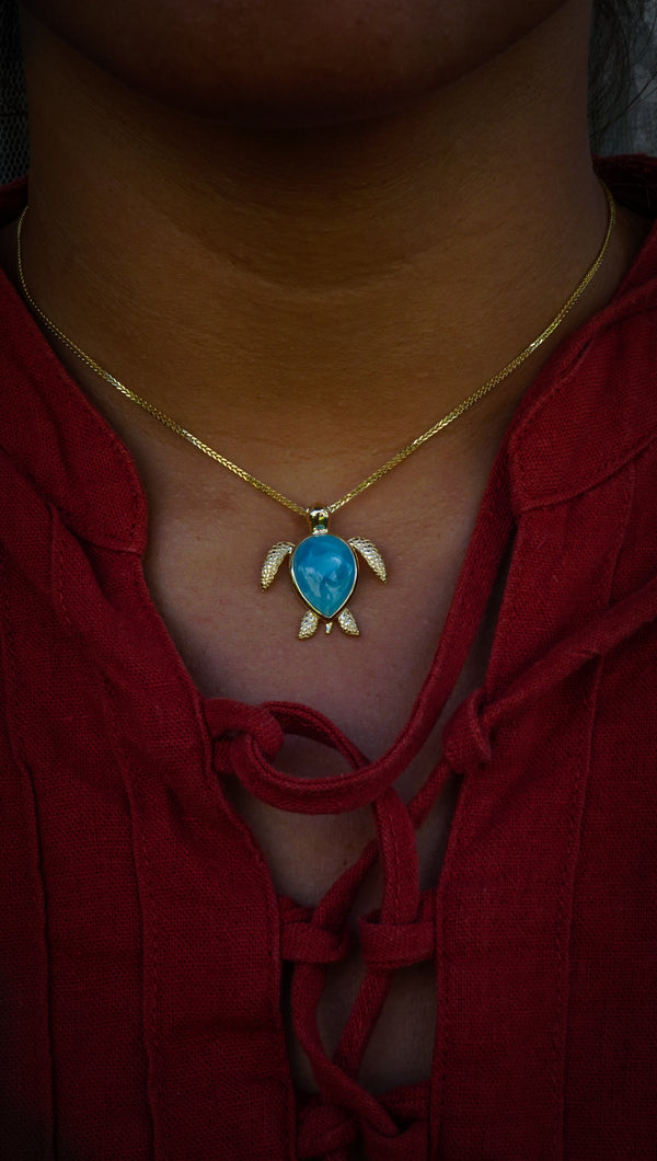 14k Yellow Gold Larimar Turtle Necklace