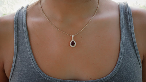 14k Yellow Gold And Ruby Diamond Necklace