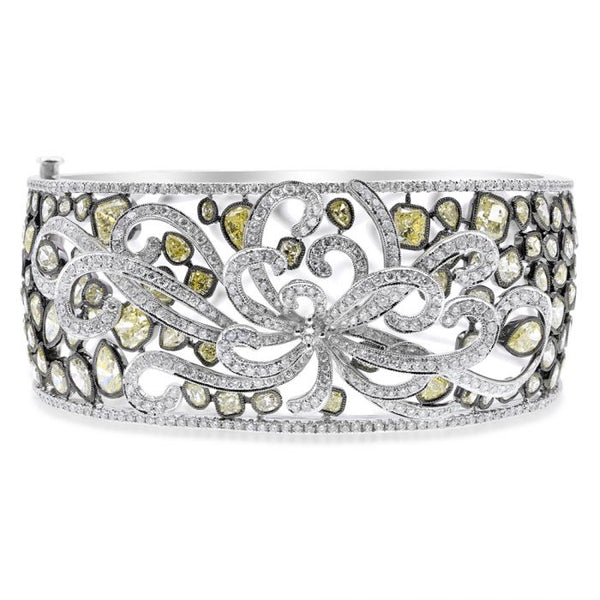 Fancy Yellow & White Diamond Bangle Bracelet Greenleaf Diamonds