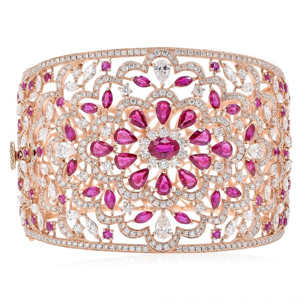 Red Ruby & Diamond Bangle Bracelet Greenleaf Diamonds