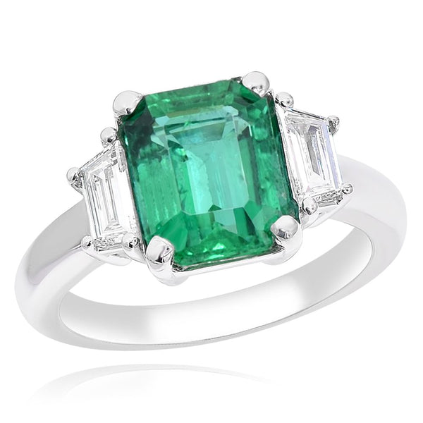 Classic Green Emerald & Diamond 3 Stone Ring Greenleaf Diamonds