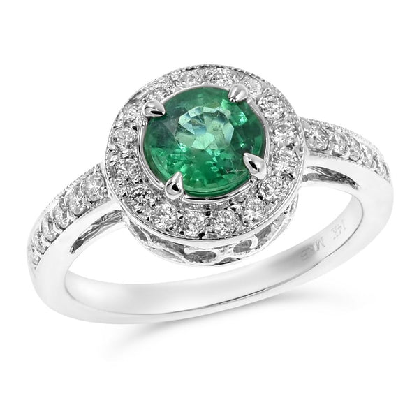 Green Emerald & Diamond Fashion Ring
