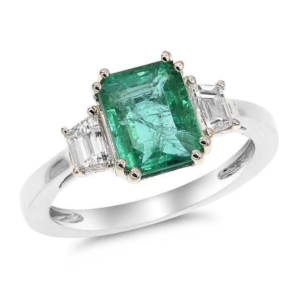 Green Emerald & Diamond Ring
