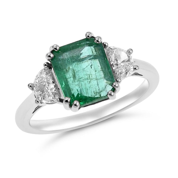 Emerald & Diamond Ring Greenlead Diamonds