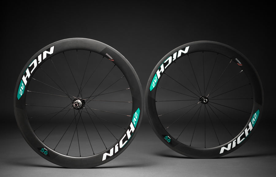 NICH Carbon wheelset Celeste decal Atem2 clincher