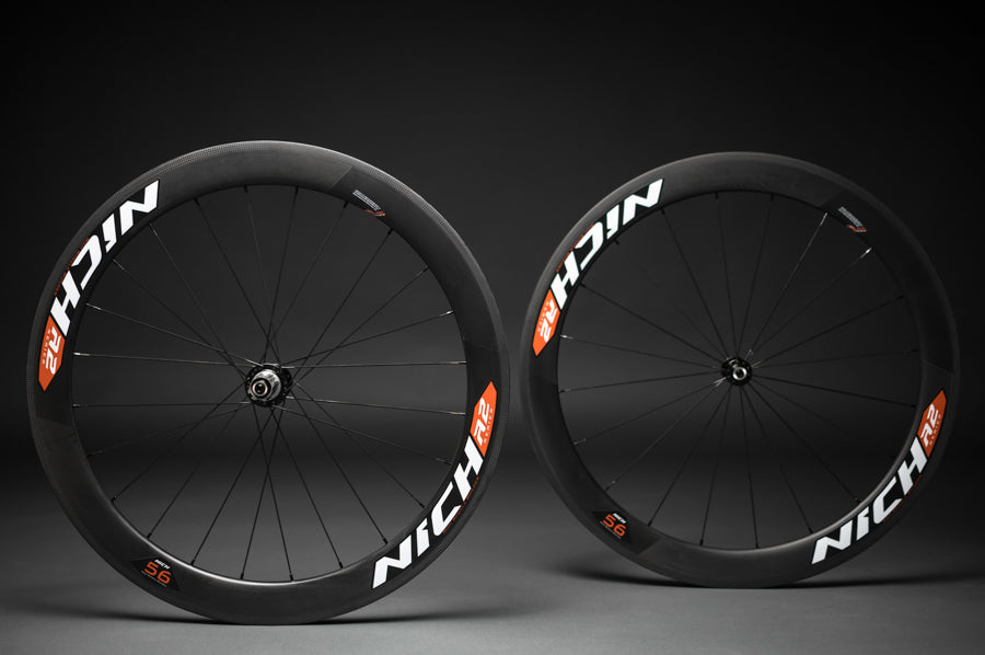 NICH Carbon wheelset Orange decal Atem2 clincher