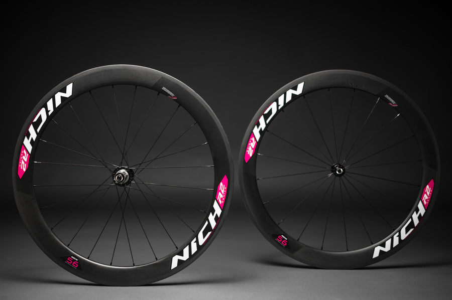NICH Carbon wheelset Pink decal Atem2 tubular