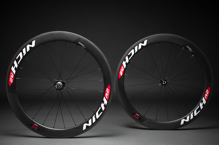 NICH Carbon wheelset Red decal Atem2 clincher