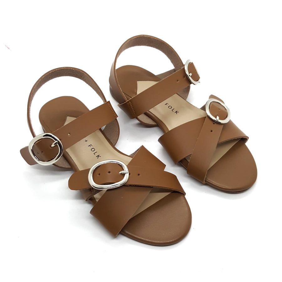 Buckle Strap Sandals, Tan