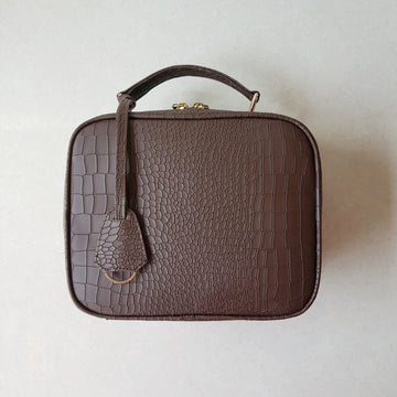 Crossbody Bag, Brown Faux Croc