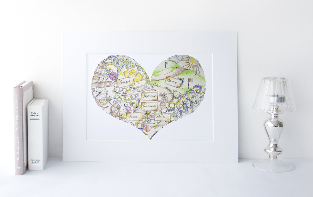 London Beatles Yellow Heart Illustration