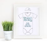 Load image into Gallery viewer, Blue Buttons Personalised Baby Grow Print