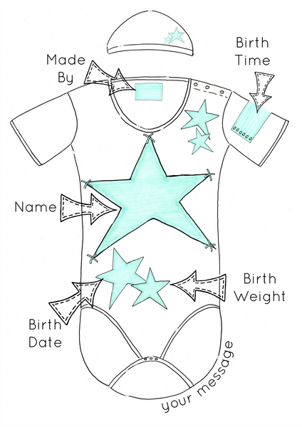Blue Stars Personalised Baby Grow Print
