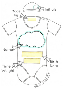 Neutral Cloud Personalised Baby Grow Print