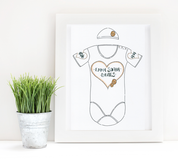 Neutral Heart Personalised Baby Grow Print