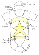 Load image into Gallery viewer, Yellow Star Personalised Baby Grow Print
