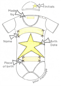 Yellow Star Personalised Baby Grow Print
