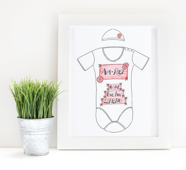 Pink Buttons Personalised Baby Grow Print