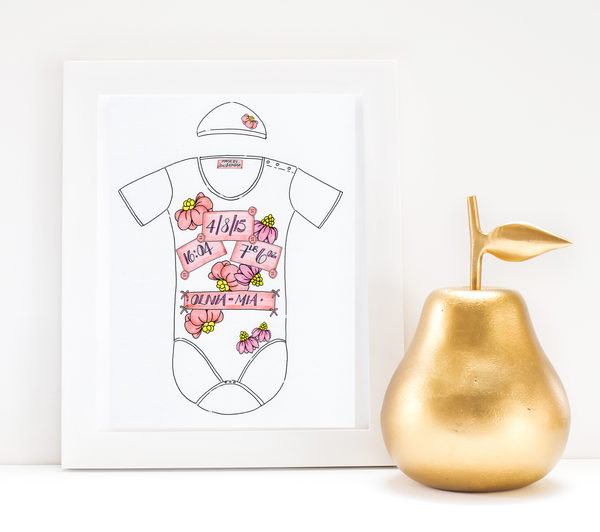 Pink Flowers Personalised Baby Grow Print