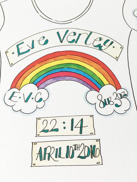 Rainbow Personalised Baby Grow Print