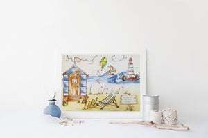 Beach Hut Personalised Print