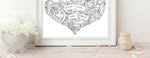 Load image into Gallery viewer, Personalised Black and White Family Doodle Heart Print