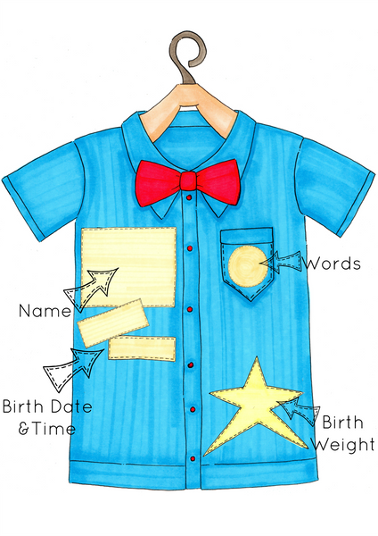 Blue Shirt and Red Bow Tie Personalised Print