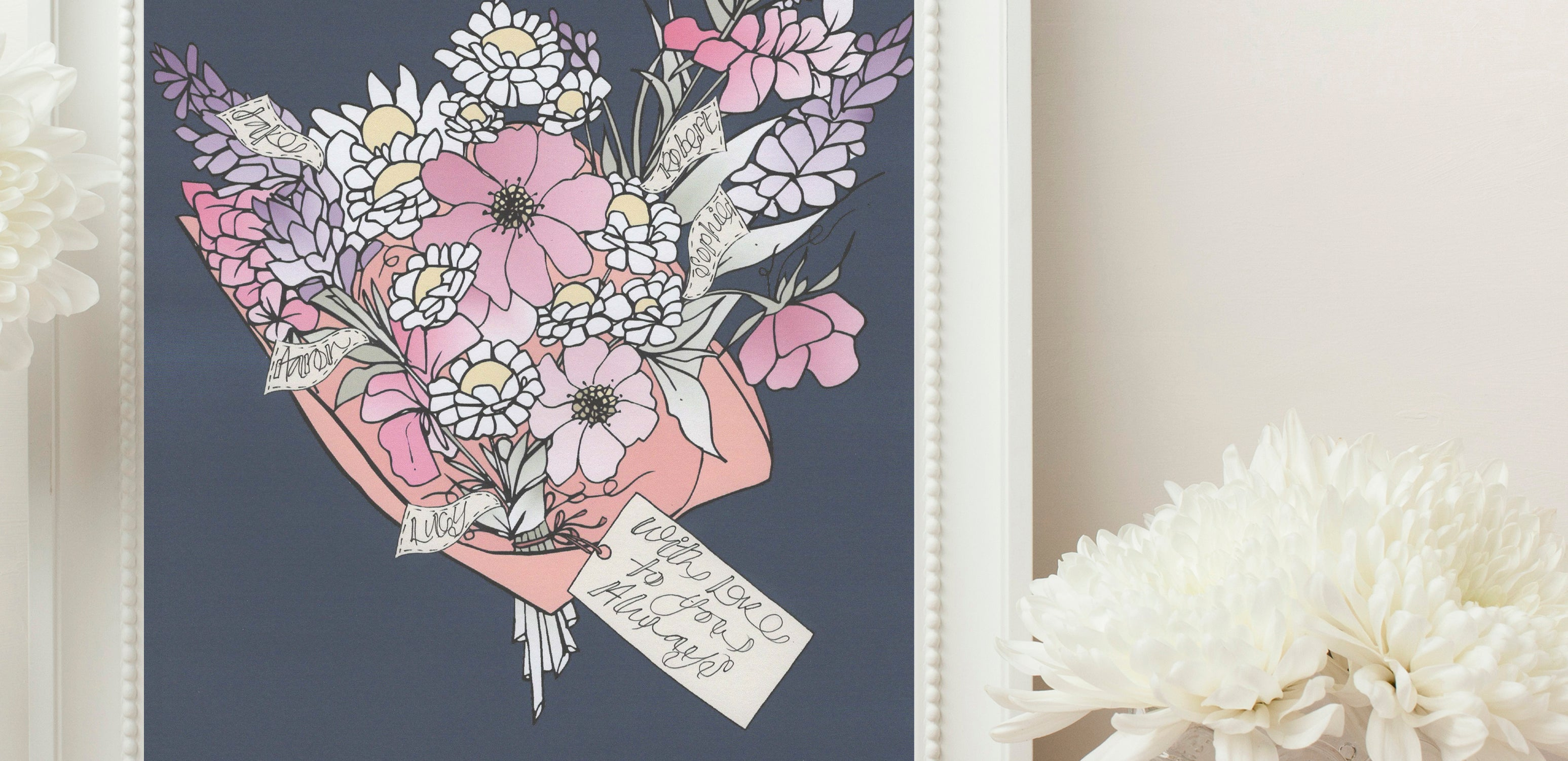 Personalised Bouquet of flowers Print - Navy background