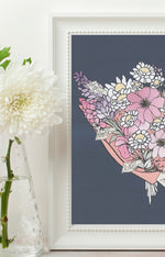 Load image into Gallery viewer, Personalised Bouquet of flowers Print - Navy background
