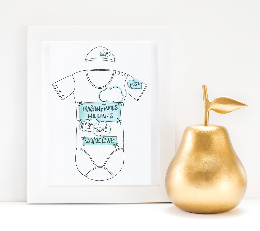 White Clouds & Blue Skies Personalised Baby Grow Print