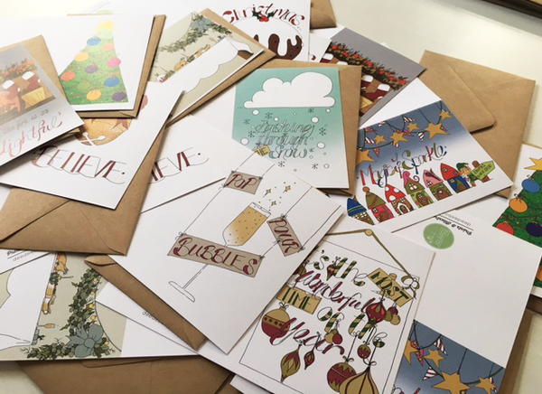 Custom pack of Christmas greetings cards.