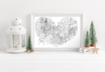 Load image into Gallery viewer, Personalised Black and White Christmas Family Heart