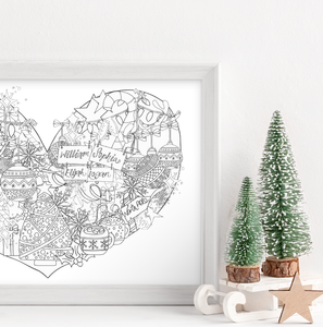 Personalised Black and White Christmas Family Heart