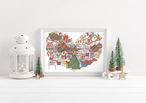 Personalised Colour Christmas Family Heart