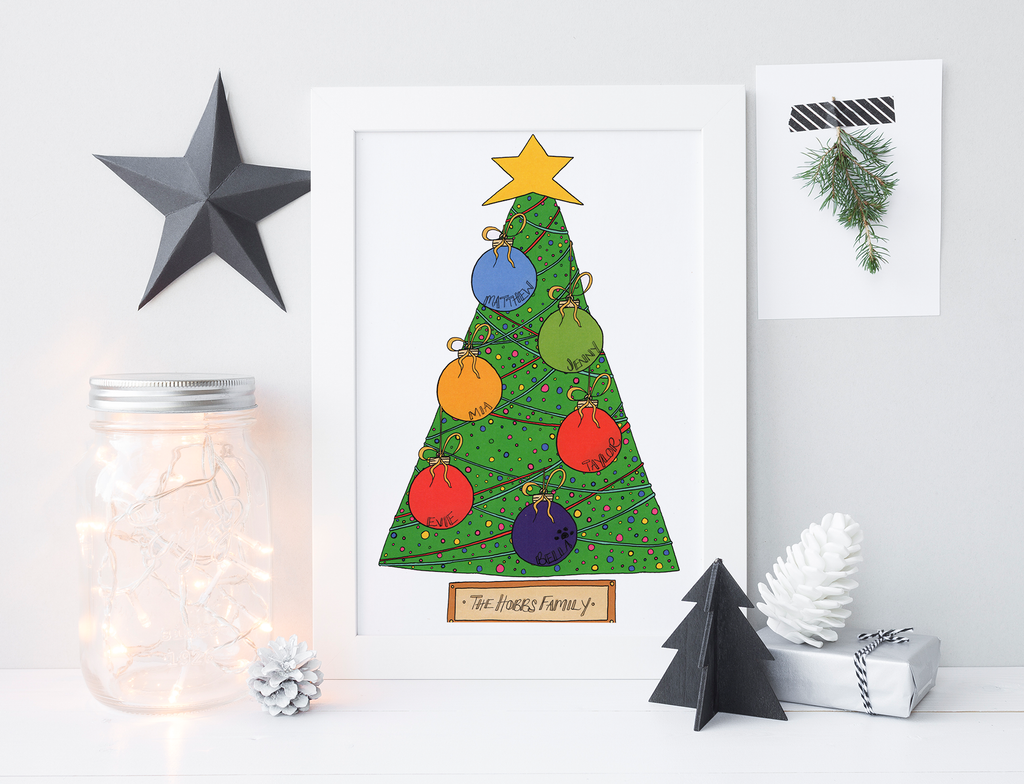 """Christmas Tree & Baubles"" print."