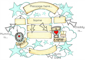Blue Stars Cloud Cycle Personalised Print