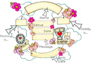 Pink Flower Cloud Cycle Personalised Print