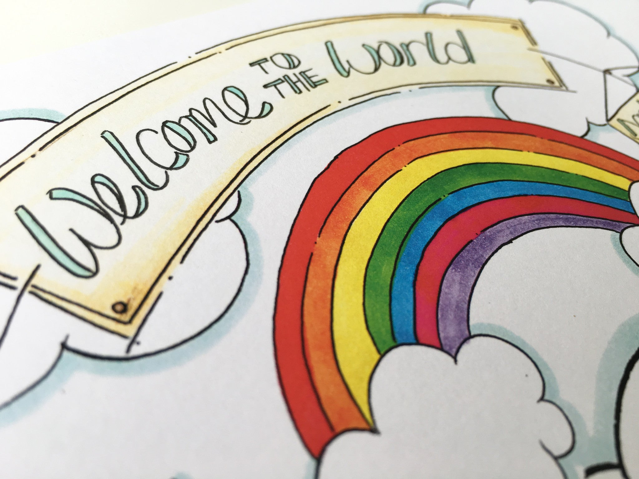 Rainbow Cloud Cycle Personalised Print
