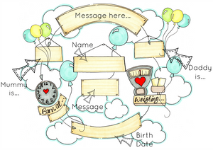 Balloons Cloud Cycle Personalised Print