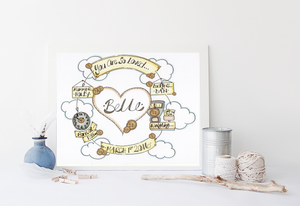Neutral Heart Cloud Cycle Personalised Print